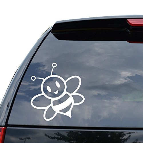 Cute Bumble Bee Insect Decal Sticker Car Truck Motorcycle Window Ipad Laptop Wall Decor - Size (05 inch / 13 cm Tall) - Color (Gloss WHITE)