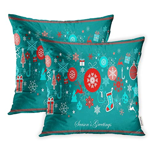 Emvency Set of 2 Throw Pillow Covers Decorative Cases Vintage Blue and Red Christmas Reindeer Balls Boxes Snow on Green File 16x16 Inch Cover Cushion Pillowcase Square Case Print ()