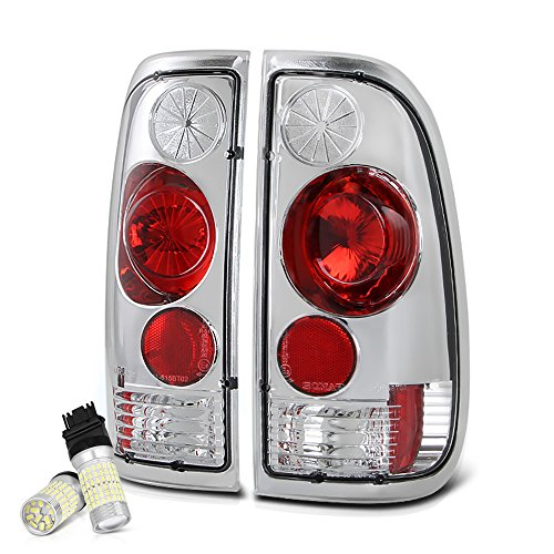 (VIPMOTOZ Chrome Bezel Euro Style Altezza Tail Light Housing Lamp Assembly Replacement For 1997-2003 Ford F-150 & 1999-2007 F-250 F-350 Super Duty - Full SMD LED Backup Bulbs, Driver and Passenger Side)