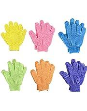 6 Paar Scrubhandschoenen, Scrubhandschoenen Vijf Vingers Badhanddoek Sterke Dubbelzijdige Peeling, Scrubhandschoenen, Bodyscrubbers voor Dames en Heren