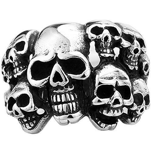 Men's Vintage Classic Gothic Embossed Skull Biker Stainless Steel Ring Band Silver Black Size 10 by MENSO (Image #3)