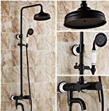 GOWE Ceramic Style Wall Mount 8'' Rainfall Bath Shower Mixer Valve Faucet Set with Handheld Shower