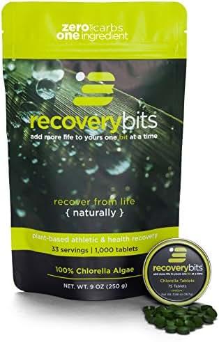 RECOVERYbits Pure Organic Chlorella Tablets – Bag of 1,000 Tablets (250mg per tablet) – Cracked Cell Wall, Non-GMO, Non-Irradiated, Raw, Green Algae – Keto, Paleo, Vegan Friendly