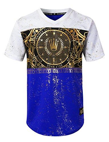 URBANCREWS Mens Hipster Hip Hop Crown Gold Foil Printed Jersey Tee Royal, XL by URBANCREWS