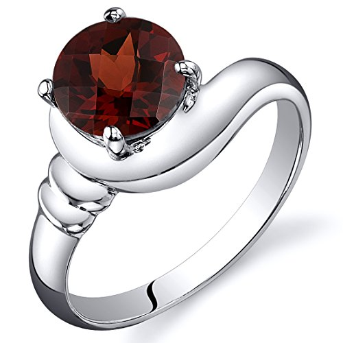 Garnet Solitaire Ring Sterling Silver Rhodium Nickel Finish Round Shape 1.75 Carats Sizes 5 to 9