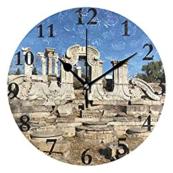Ladninag Wall Clock Yuanmingyuan Most Famous Relics China Silent Non Ticking Decorative Round Digital Clocks for Home/Office/School Clock
