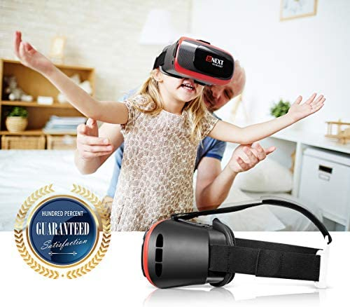 BNEXT VR Headset Compatible with iPhone & Android Phone – Universal Virtual Reality Goggles – Play Your Best Mobile Games 360 Movies with Soft & Comfortable New 3D VR Glasses | Red | w/Eye Protection 51rxaUZeXGL