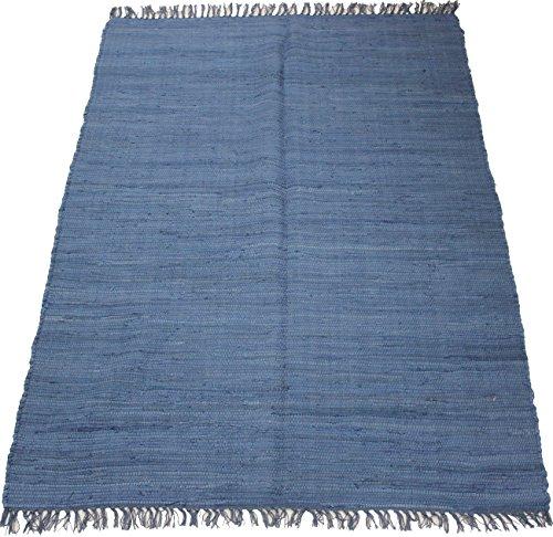 140 x 70 cm Einfarbiger Fleckerlteppich in Uni BLAU Handgewebt Kelim Beidseitig nutzbar 2000g/m Baumwolle Kilim Flickenteppich Orient Teppich