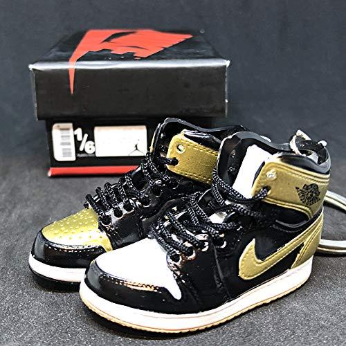 Pair Air Jordan I 1 Retro Top 3 Gold Toe Black NRG OG Sneakers Shoes 3D Keychain Figure 1:6 + Shoe Box]()