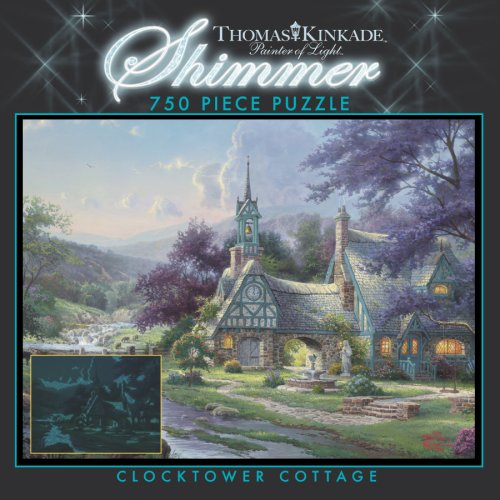 750 Piece Thomas Kinkade Shimmer-Clocktower Cottage