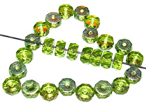50pcs Belly Rondelles Czech Glass Faceted Beads 3x6mm, Olivine AB