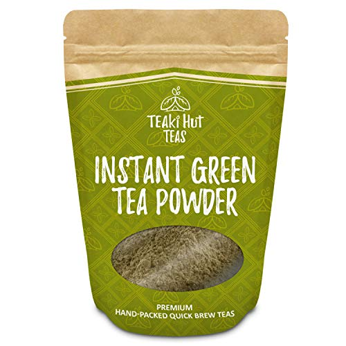 TEAki Hut Instant Green Tea Powder 4oz (200 Servings) | Mixes With Hot Or Cold Water | No Brewing Needed | Loaded With Antioxidants EGCG | Healthier Than Coffee | Delicious Tea