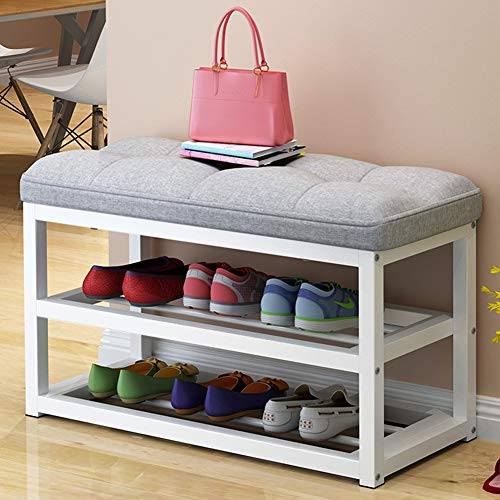 ZQXXX Shoe Storage, 2-Tier Shoe Rack with Seat Storage Bench, Shoe Rack Shoe Bench with Lift Up Bench Top and Seat Cushion, Hallway Furniture Frame Seat30×44×80Cm, Maximum Load: 60Kg,Gray