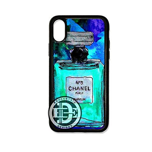 - (iPhone Xs MAX) EGOCENTRIC DESIGN & CO. Blue Number 5 Perfume Art TPU Rubber Silicone Phone Case