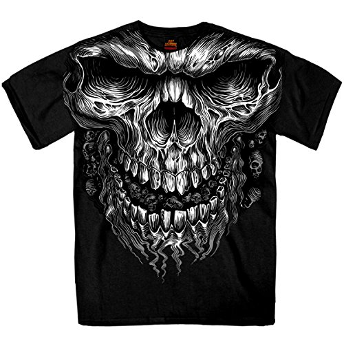 Buffalo Skull T-shirts (Hot Leathers Shredder Skull Jumbo 100% Cotton Double Sided Printed Biker T-Shirt)