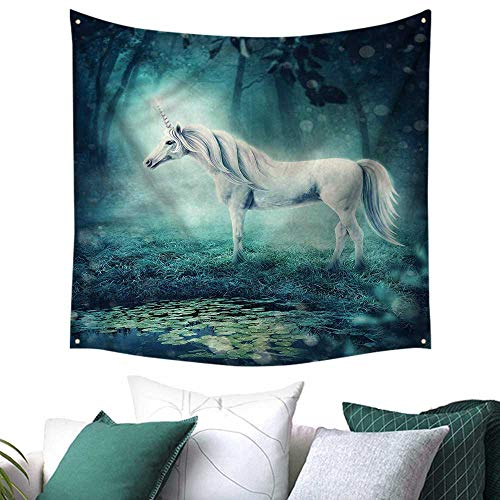 Luckyee Fantasy Beach Throw Blanket Enchanted Forest Unicorn 47W x 47L Inch,Home Decorations for Living Room Bedroom