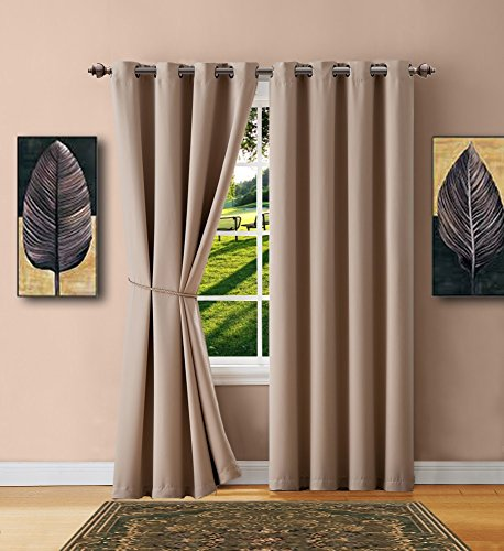 Cheap  Warm Home Designs 1 Panel of Taupe Blackout Curtains with Grommets. Extra..