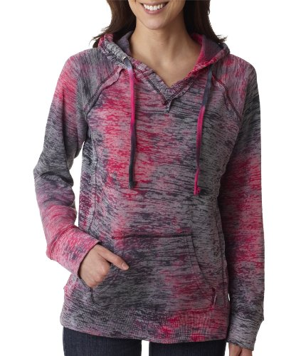 MV Sport Women's Courtney Burnout Hooded Pullover Blend Fleece (Raspberry Swirl) (Large)