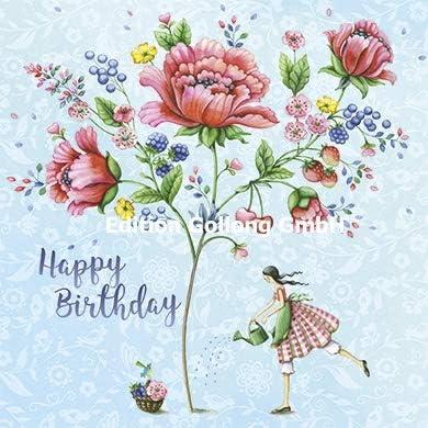 Mazzo Di Fiori Happy Birthday.Cartolina Illustrata Di Nina Chen 140 X 140 Mm Happy Birthday