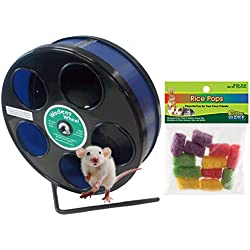 Mouse Wheel: 8 Inch Transoniq Wodent Wheel Junior, Black with Blue Track and Ware Rice Pops-Small Animal Treat