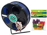 Mouse Wheel: 8 Inch Transoniq Wodent Wheel Junior, Black with Blue Track and Ware Rice Pops-Small Animal Treat