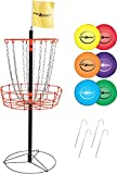 Park & Sun Sports Portable Frisbee/Disc Golf Steel Target Goal with Basket: Deluxe Set Includes 6 Discs