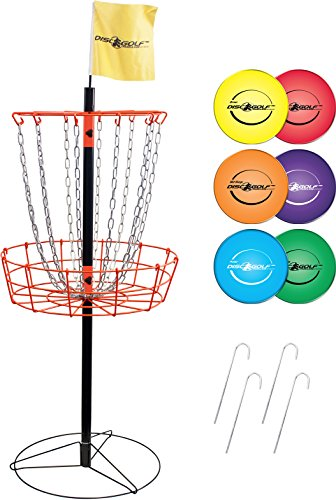 Park & Sun Sports Portable Frisbee/Disc Golf Steel Target Goal with Basket: Deluxe Set Includes 6 - Parka Golf