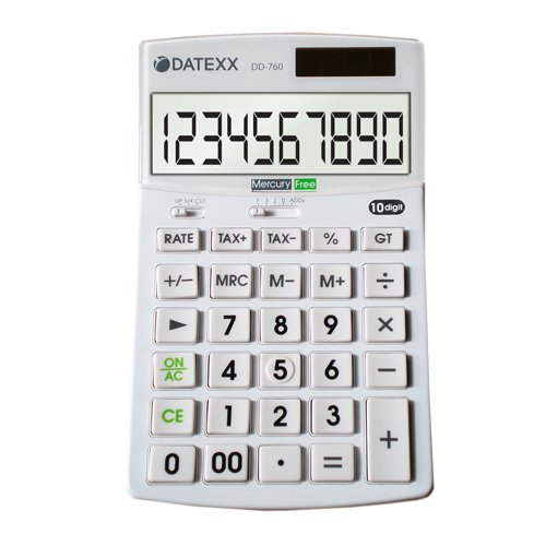 Datexx DD-760 Hybrid Power 12 Digit Desktop Calculator (Calculator For Seniors)