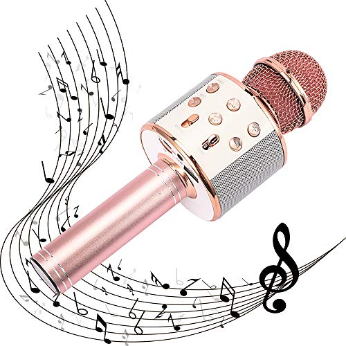 SUGOO Party Gift for Girl Kids, Wireless Karaoke Microphone for 4-12 Year Old Girls Boys Kids Bluetooth Karaoke Micrphone Machine for Kids Birthday Party Gift for Girls Age 4-12 Rose Gold MIC
