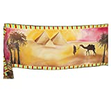 Elegant Silk Scarf Egyptian Pyramids Brown Hand Painted Shawl For Women One Of A Kind