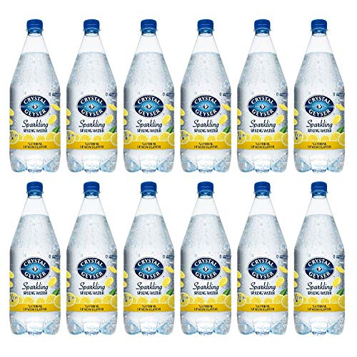 Crystal Geyser Sparkling Spring Water, Lemon, 1.25 Liter PET Bottles , No Artificial Ingredients, Sweeteners, Calorie Free (Pack of 12)