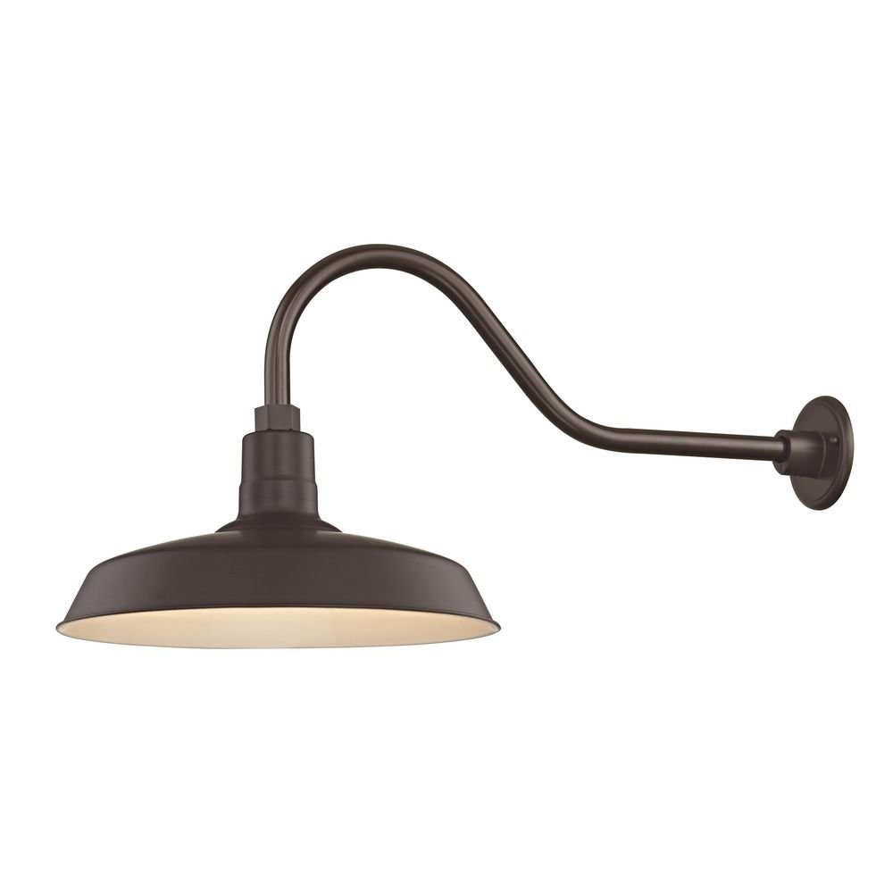 Barn Light Outdoor Wall Light Bronze with Gooseneck Arm 16'' Shade by Dolan Designs