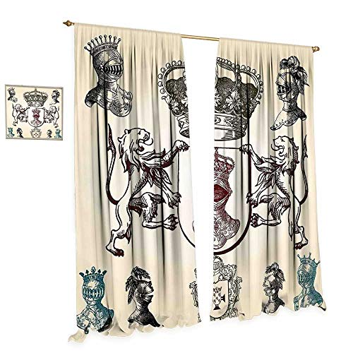 (cobeDecor Medieval Patterned Drape for Glass Door Shield Design with Various Ancient Figures Coat of Arms Blazon Crown Print Waterproof Window Curtain W72 x L96 Cream Teal Maroon )