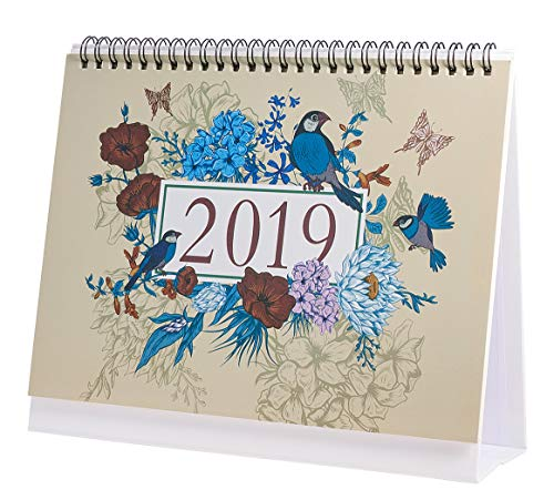 Desk Calendar 2019 Monthly, Daily Weekly Monthly Yearly Academic Calendar Planner for School Office, Runs from January 2019 Through December 2019 (Birds' Twitter and Fragrance of Flowers)