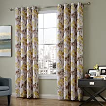 FirstHomer Print Floral Lined Curtain Panel Drapes Nickle Grommet Yellow 52Wx108L Inch (1 Panel),Heading / Size Customizable For Bedroom | Living Room | Club | Hotel | Restaurant