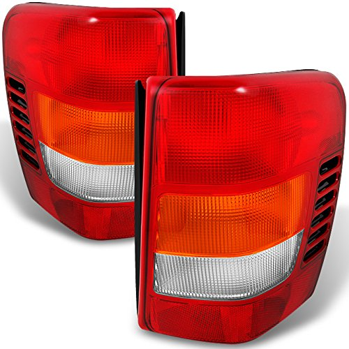 Grand Cherokee Lamp Jeep - For Jeep Grand Cherokee Red Amber Tail Lights Brake Lamps Driver Left + Passenger Right Replacement Pair