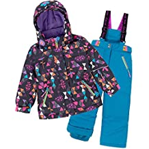 Deux par Deux Girls' 2-Piece Snowsuit Confetti Garden Blue, Sizes 4-14