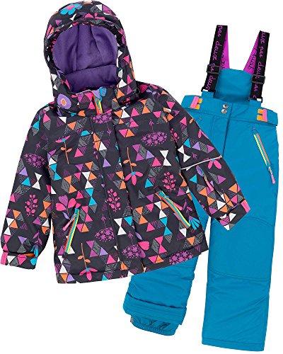 Deux par Deux Girls' 2-Piece Snowsuit Confetti Garden Blue, Sizes 4-14 - 12 by Deux par Deux