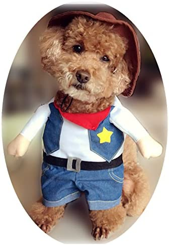 NACOCO Cowboy Dog Costume with Hat Dog Clothes Halloween Costumes for Cat and Small Dog 24