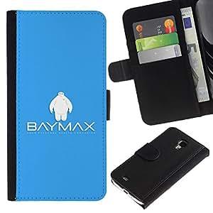 // PHONE CASE GIFT // Moda Estuche Funda de Cuero Billetera Tarjeta de crédito dinero bolsa Cubierta de proteccion Caso Samsung Galaxy S4 Mini i9190 / Bay Max Robot /