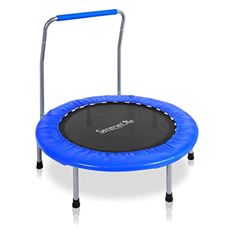 SereneLife Highly Elastic Sports Trampoline – 36 Heavy Duty Jumping Mat w Coil Spring 26 Dia Safe for Kids Padded Frame Cover and Handle Bar 24 High – Space Saver Foldable w Kitbag – SLSPT369