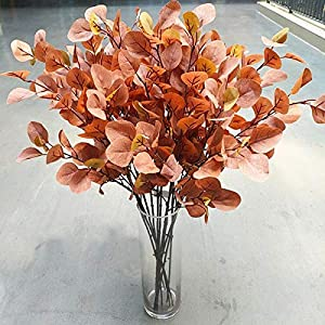 YUYAO Artificial Plants Silver Dollar Eucalyptus Leaves 6Pcs Leaf Silk Artificial Greenery Stems Fake Plants Leaves for Home Wedding Party Decoration (Maple Red) 5