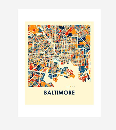 I Like Maps - Baltimore, MD Full Color City Map Print/Poster (Chroma Series, 11