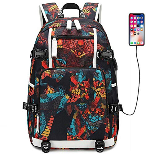 (School Laptop Backpack, Fashion Girls Boys Travel Backpack with USB Charging Port, Casual Daypack College Student Backpacks, Computer Bag for Women & Men Fits 15.6 Inch Laptop and Notebook (Red))