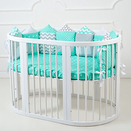 Oval Crib Set - Cubby Convertible Round Crib Bundle 8-in-1 made of Pine Wood (white) includes BONUS mattress and conversion kits for all 8 variations, Baby Toddler Furniture for Nursery Bedroom