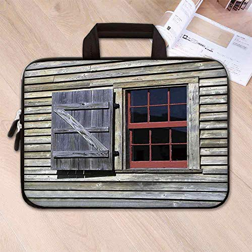 - Shutters Decor Neoprene Laptop Bag,Original Wooden Window Shutters in Historical Village Image Cottage Style Decor Print for Business Casual or School,15.4''L x 11''W x 0.8''H