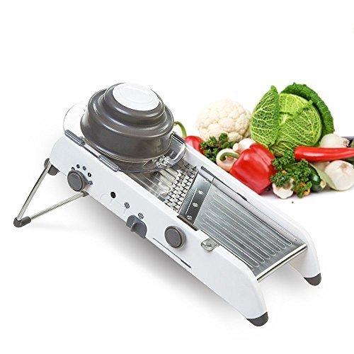 PasutewelMandolineFood Slicer,StainlessSteel AdjustableVegetableCutter Manual Kitchen VegetableShredder Julienne Chopper for Potato French Fries Fruits VegetableSalad White