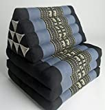 Foldout Triangle Thai Cushion, 67x21x3 inches, Kapok Fabric, Blue/Black Elephant