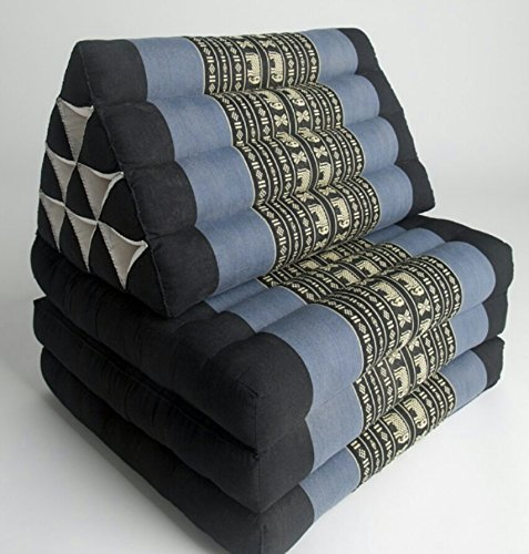 Foldout Triangle Thai Cushion, 67x21x3 inches, Kapok Fabric, Blue/Black Elephant by Thai OTOP by Kaikeng