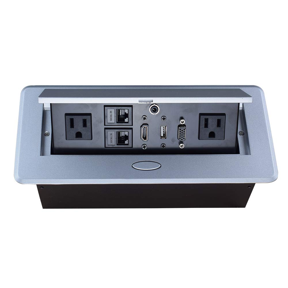 Table Pop up Power Strip Date Hub Connection Box with Outlet Network HDMI for Office Desk(Silver)